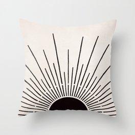 Sun #5 Black Throw Pillow