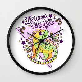 Iguana be a star Wall Clock