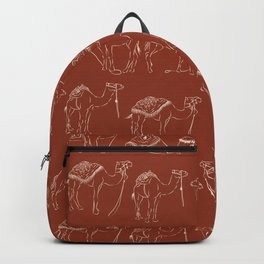Linocut Camels No. 2 in Rust Backpack