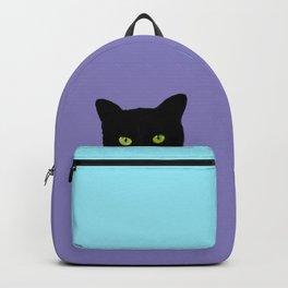 Black Hidden Cat Purple Backpack