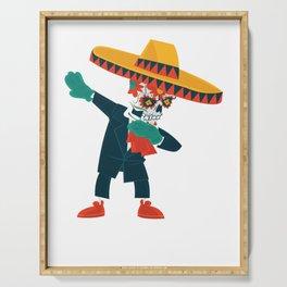 Dabbing Cinco De May Sugar Skull cuatro Sombrero graphic print Serving Tray