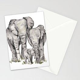 Elephant Family, Elephant Watercolor Painting, Animal Family Stationery Cards