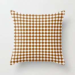 Small Diamonds - White and Brown Throw Pillow