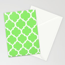 MOROCCAN LIME GREEN AND WHITE PATTERN Stationery Cards