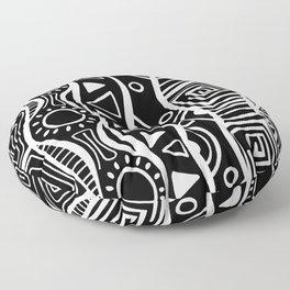 Four Waves - Freestyle Tribal Doodle Design - Black Floor Pillow