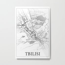 Tbilisi, Georgia, city map print Metal Print