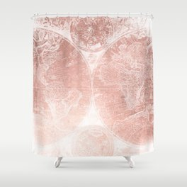 Antique World Map White Rose Gold Shower Curtain