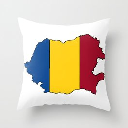 Romania Map with Romanian Flag Throw Pillow