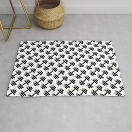Dumbbellicious / Black and white dumbbell pattern Rug