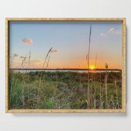 Beautiful Florida Beach Sunset Over Matanzas Inlet Serving Tray