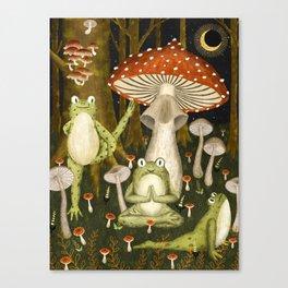 mushroom forest yoga Canvas Print