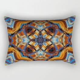 Mid Century Mosaic Pattern Retro Design Rectangular Pillow