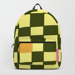 Green and Pink Imperfect Checkerboard Backpack