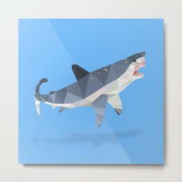 Low Poly Great White Shark Metal Print