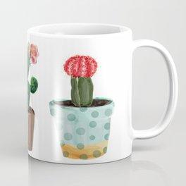 Three Cacti With Flowers On White Background Coffee Mug
