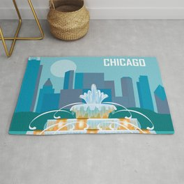Chicago, Illinois - Skyline Illustration by Loose Petals Rug