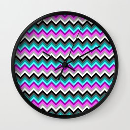 Cyan Magenta Chevron Pattern Wall Clock
