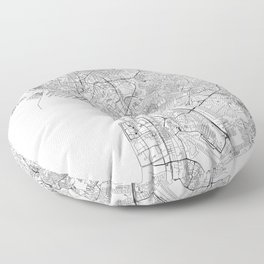 Manila White Map Floor Pillow