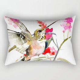 Hummingbird and Pink Flowers, sage green, olive green pink Rectangular Pillow