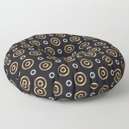 Elegant Faux Gold and Silver Circles Pattern Floor Pillow