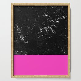 Pink Meets Black Marble #1 #decor #art #society6 Serving Tray
