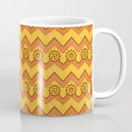 Orange Peel & Saffron Chevrons and Sprockets Coffee Mug
