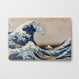 Under the Great Wave by Hokusai Metal Print