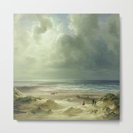'The Last Days of Summer' coastal landscape painting by Christian Ernst Bernhard Morgenstern Metal Print