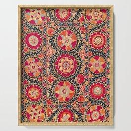 Kermina Suzani Uzbekistan Floral Embroidery Print Serving Tray