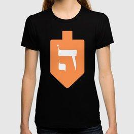 Orange Hanukkah Dreidel with the Letter Hey T-shirt