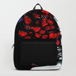 Great Expectations - Female form Head full of Monarch Butterflies portrait painting Backpack