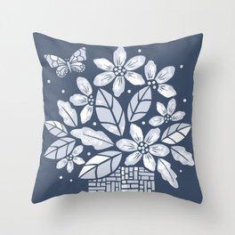 Blooming Basket (Blue) Throw Pillow