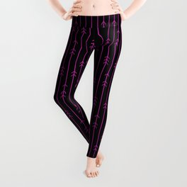 Minimal hot pink arrows and lines on black Leggings