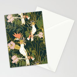 Drawing of exotic birds in the dark jungle Stationery Cards