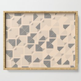 Geometric seamless pattern design with a grunge texture Serving Tray