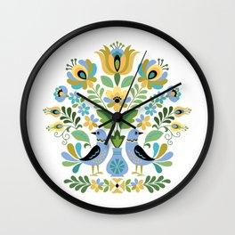 Hungarian Folk Art Birds Blue and Gold Wall Clock