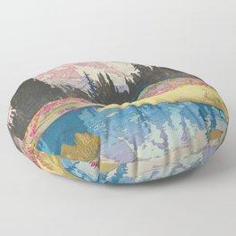 Mount Rainier  Vintage Beautiful Japanese Woodblock Print Hiroshi Yoshida Floor Pillow