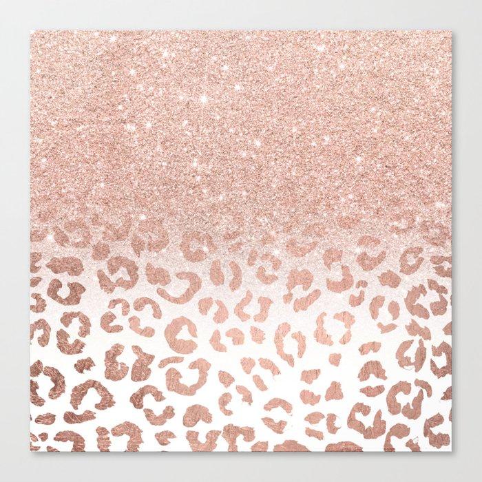 Trendy modern faux rose gold glitter ombre leopard pattern Leinwanddruck