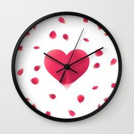 Rose Petal Heart Wall Clock