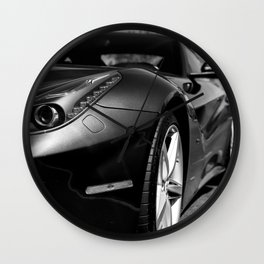 Super Car // Front Wheel Base Low Rims Dark Charcol Gray Black and White Wall Clock