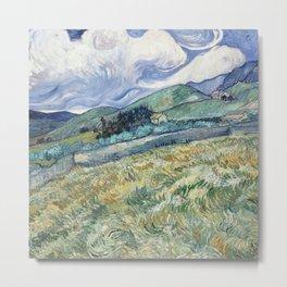 Fun Neck Gaiter Vincent Van Gogh Wheat Field Behind St Paul Neck Gator Metal Print