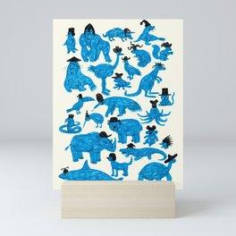 Blue Animals Black Hats Mini Art Print