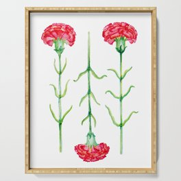 Carnations flowers watercolor art Serving Tray