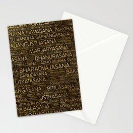 Gold Yoga Asanas / Poses Sanskrit Word Art Stationery Cards