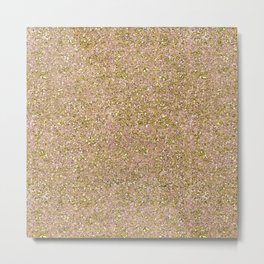 Blush Pink & Gold Glam Glitter Sparkle Metal Print