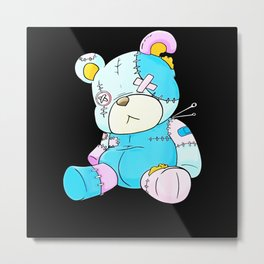 Pastel Goth Teddy Bear Nu Goth Menhera Kawaii Metal Print