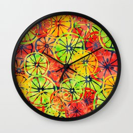 Summer Lemons, Colorful Pattern Wall Clock