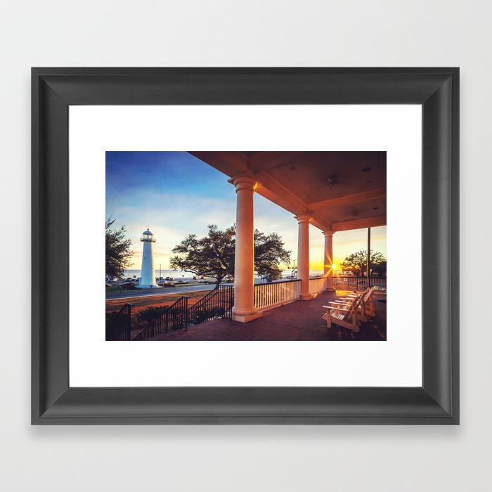 Biloxi Lighthouse Sunset Framed Art Print By Jmccool Society6