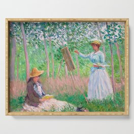 Claude Monet - In the Woods at Giverny, Blanche Hoschedé at Her Easel with Suzanne Hoschedé Reading Serving Tray