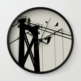 Bridge - Graphic Birds Series, Plain - Modern Home Decor Wall Clock